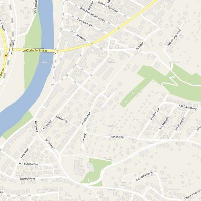 Ein Kartenausschnitt der Umgebung Neues Wohnen am Hausberg
