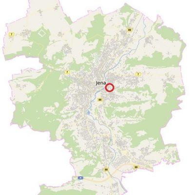 Eine Karte der Stadt Jena. Rot eingekreist der Standort des neuen Wohnviertels am Hausberg