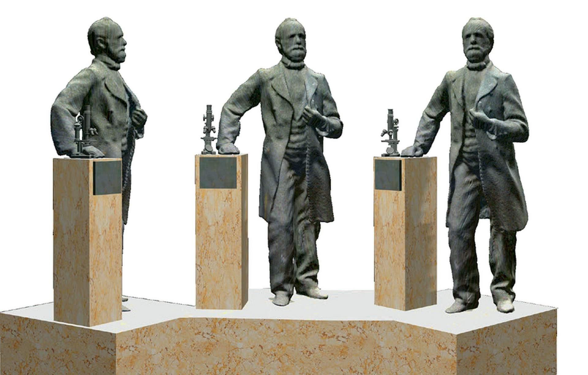 s Carl Zeiß Denkmal auf dem Johannisplatz in Jena - Künstlerentwurf von Klaus-Dieter Locke. Zu sehen von links, rechts und von vorn.