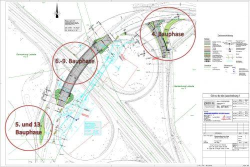 Karte mit den geplanten Bauphasen 4-9 und 13