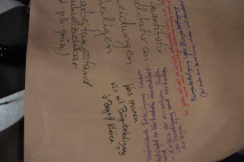 Blick auf den Thementisch Methoden und Verfahren der Auftaktveranstaltung, Auftaktveranstaltung Leitlinien für die Bürgerbeteiligung, © ORBIT