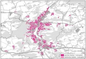 Karte von Jena mit farbig markierten Flächen, die den Ausbau von Breitband in Jena kennzeichnen.