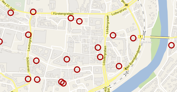 Ausschnitt einer Karte von Jena mit den eingezeichneten Standorten der Kabelverzweiger der Telekom.