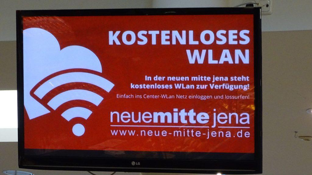 Display mit Hinweis auf kostenloses WLan in der Neuen Mitte Jena