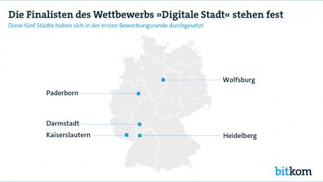 Deutschlandkarte, die die fünf Städte zeigt, die in der nächsten Ausschreibungsrunde sind.