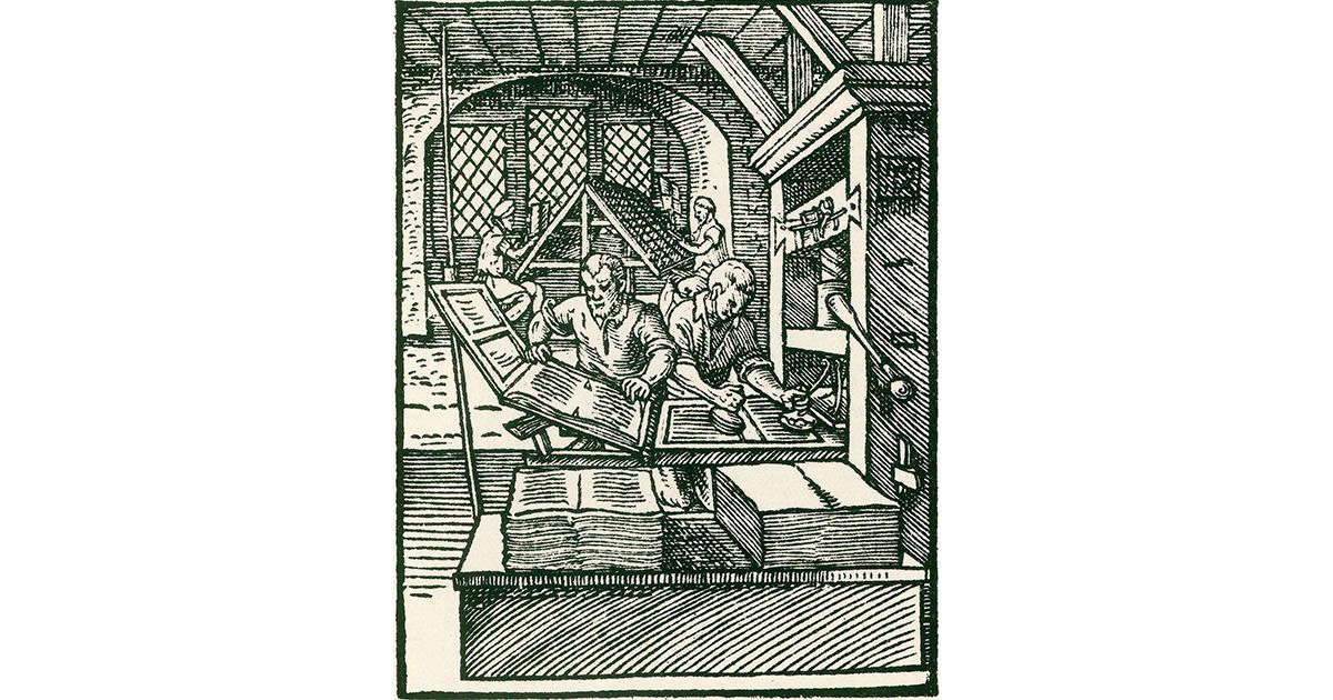 Darstellung einer Druckerei nach Publikation des Jahres 1568