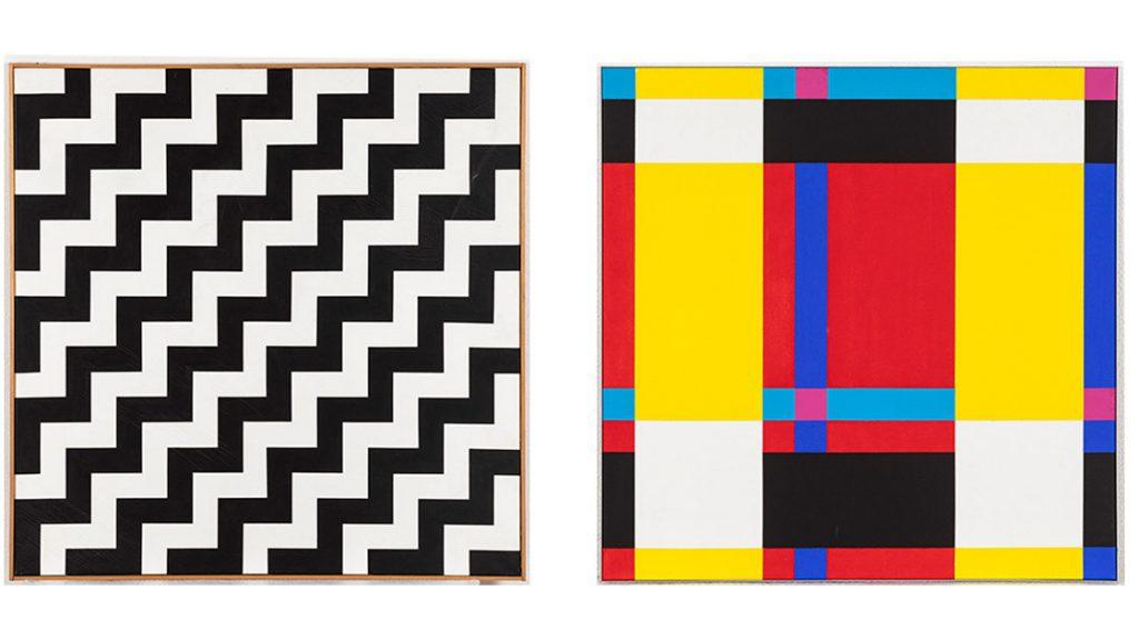 links: Wolfgang Bosse, JA-NEIN, 1993, Acryl auf Leinwand // rechts: Fritz Kunibert, ohne Titel, 2002, Acryl auf Leinwand