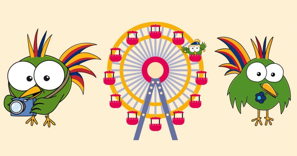 Paradiesvogel Adam mit Kamera, auf dem Riesenrad und mit Blume