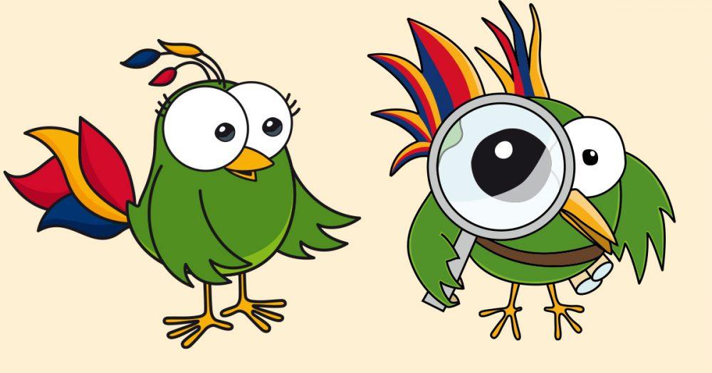 JenaKulturParadiesvögel Eva und Adam mit Lupe