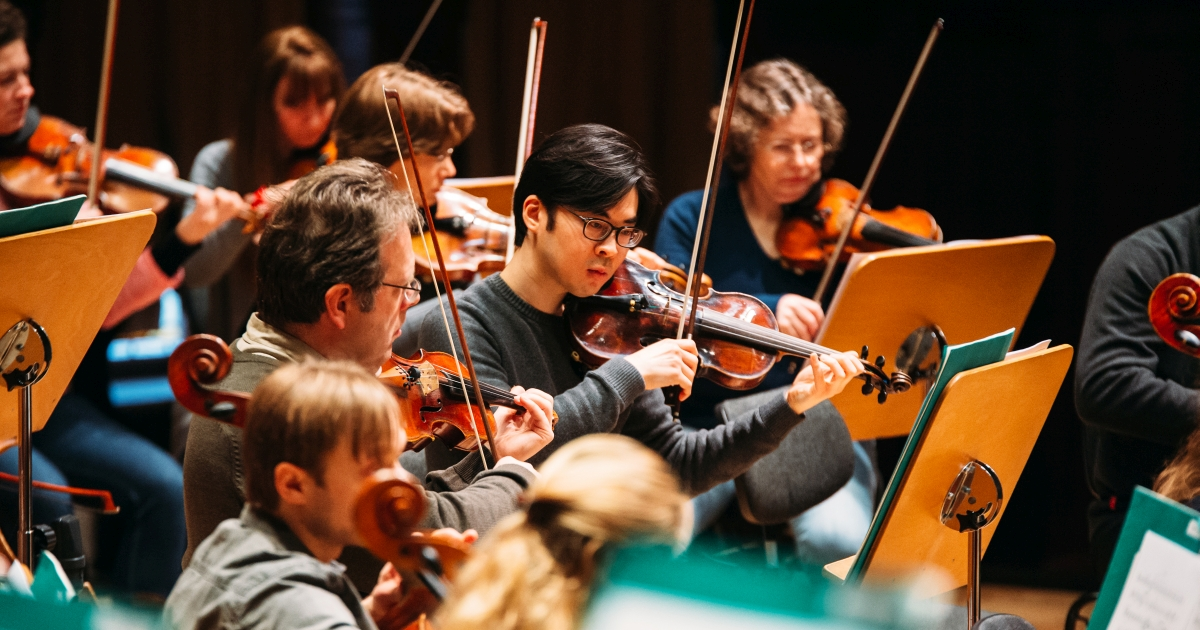Streicher bei einer Generalprobe der Jenaer Philharmonie