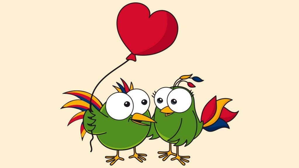 JenaKulturParadiesvögel Adam und Eva mit Herz-Ballon