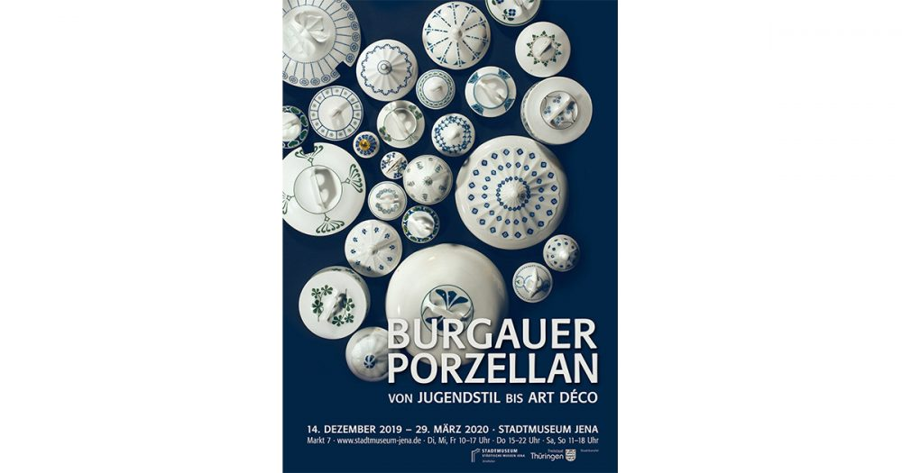 Plakat für die Ausstellung Burgauer Porzellan im Stadtmuseum Jena