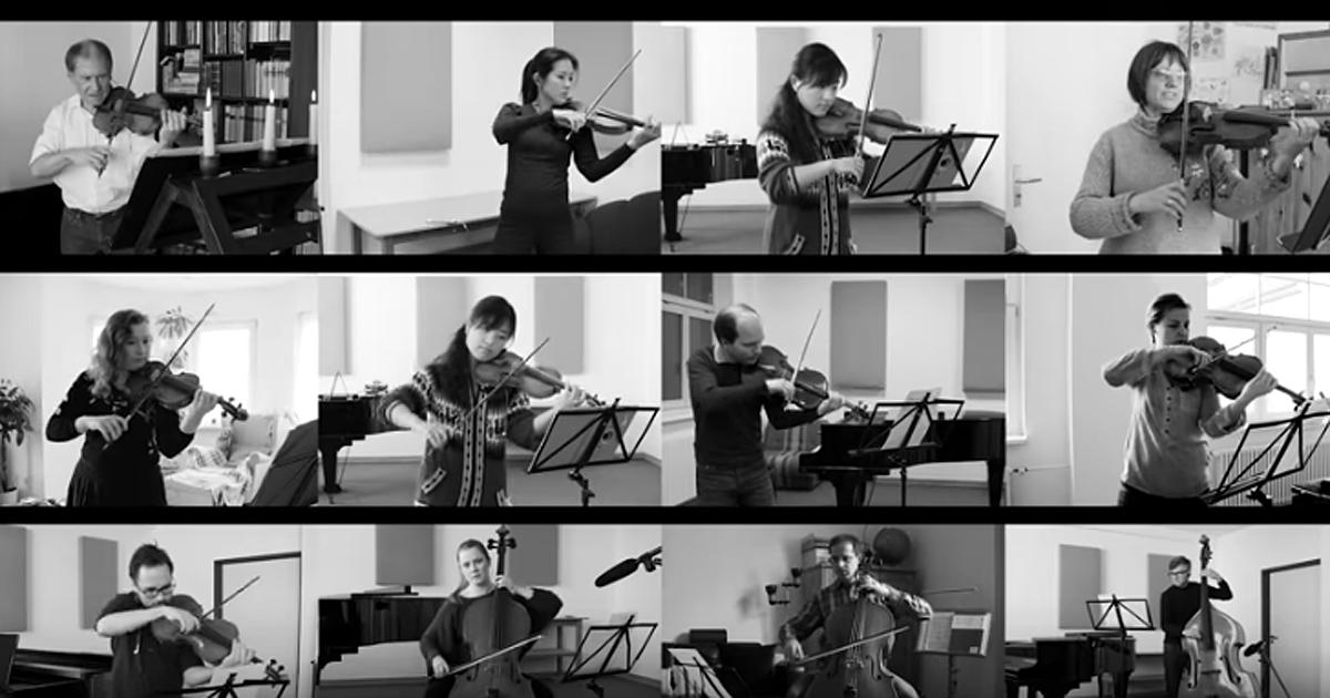 Collage aus Musikeraufnahmen während Filmdreh