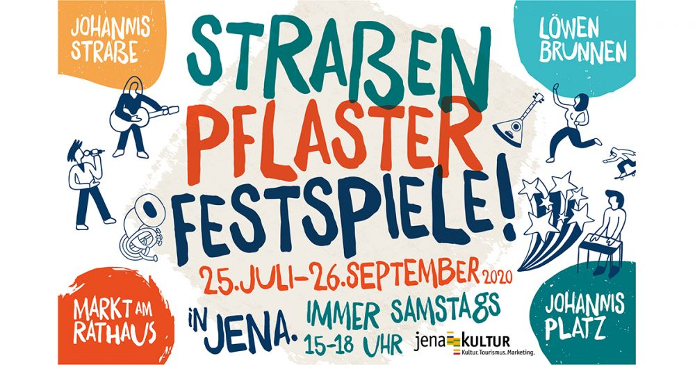 Werbegrafik zu den Straßenpflasterfestspielen Jena