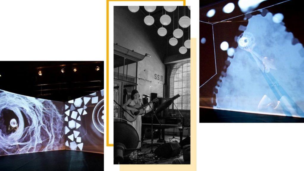Szenen aus der ICEBERG-Performance des Ins Netz e.V. im TRAFO Jena