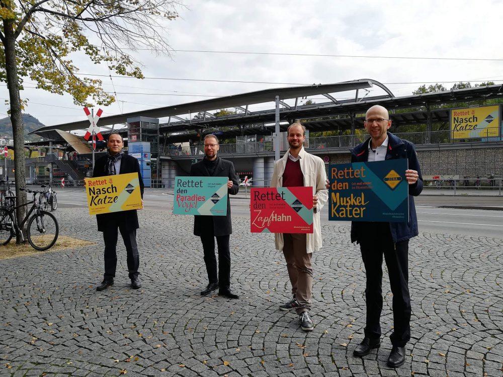 Bürgermeister Christian Gerlitz, OB Dr. Thomas Nitzsche, Werkleiter JenaKultur Jonas Zipf, Geschäftsführer JenaWirtschaft Wilfried Röpke (v.l.n.r.)