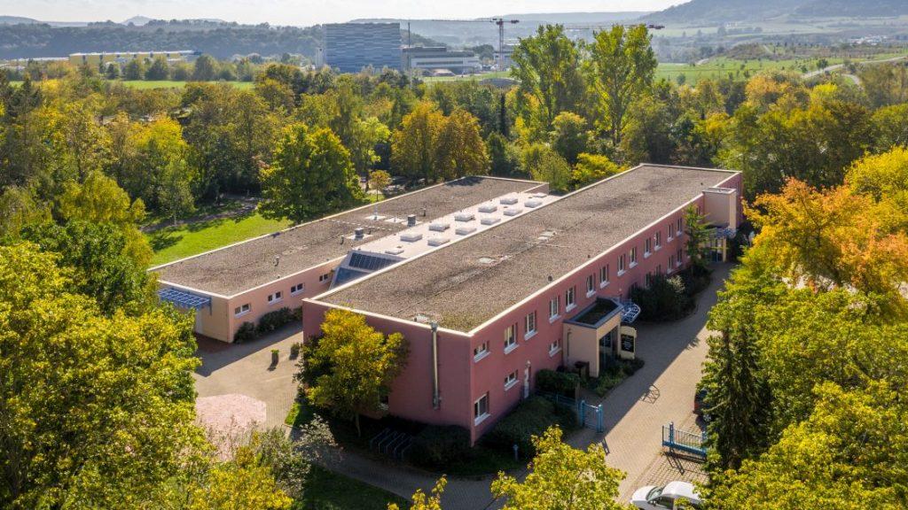 Luftaufnahme des Stadtteilzentrum LISA mit Umgebung