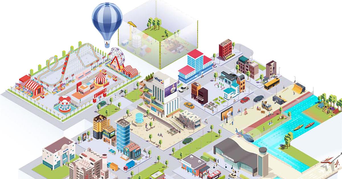 Datenkompetenz-App Grafik einer Stadt