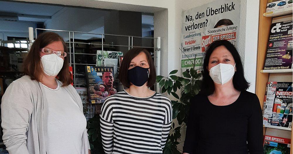 Das Team der Stadtteilbibliothek in Lobeda, drei Frauen