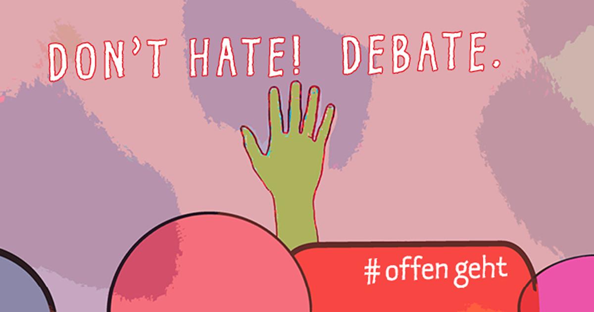 """Grafik mit Herz & Hand und Text """"Don't Hate! Debate!"""