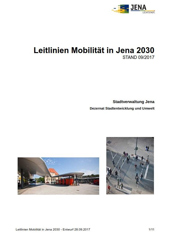 "Deckblatt ""Leitlinien Mobilität in Jena 2030"""