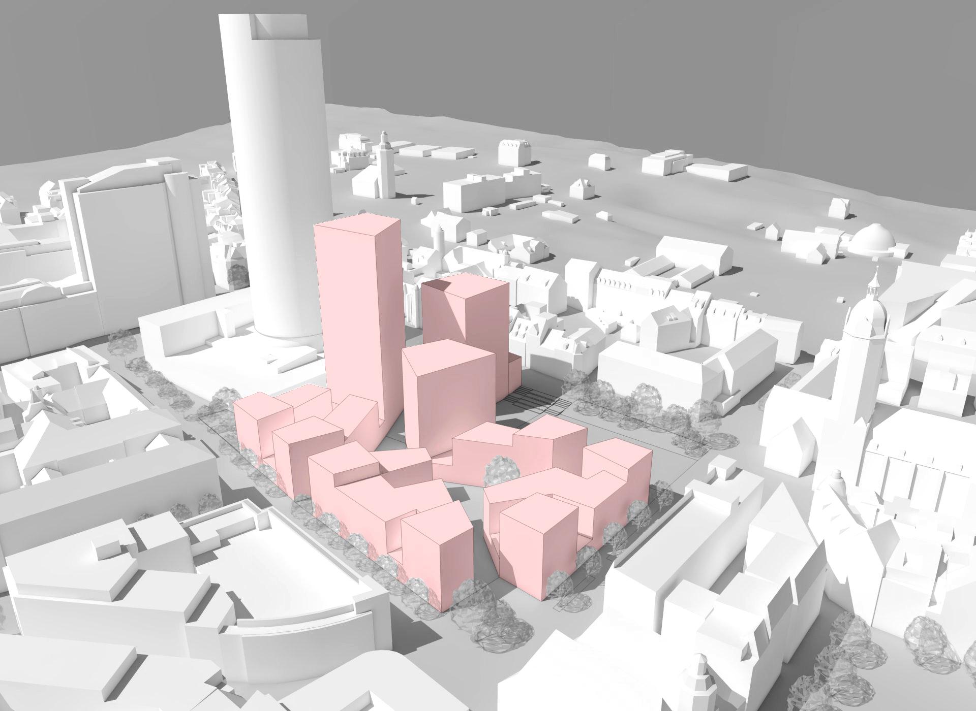 Modell des Eichplatzareals mit drei Hochhäusern