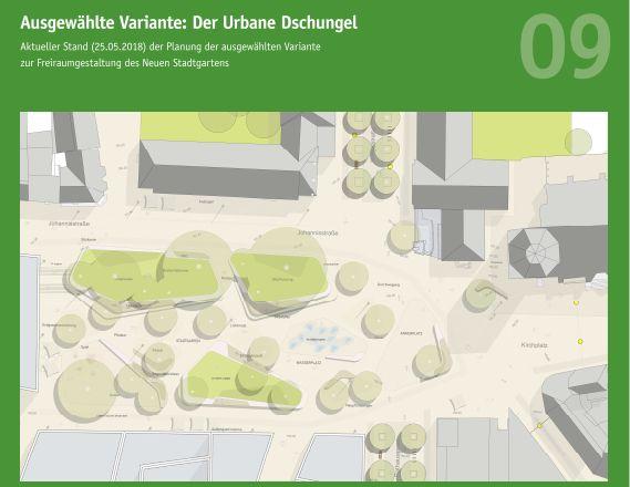 Plakat zum Urbanen Dschungel der Ausstellung zum Neuen Stadtgarten auf dem Eichplatzareal