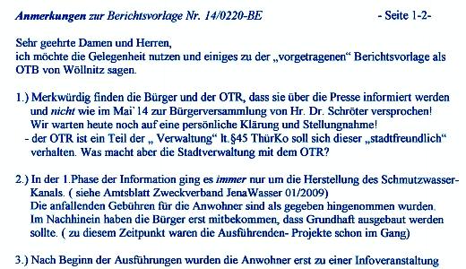 Anmerkungen der OTBMin Frau Scholz zur Berichtsvorlage Nr 14-0220-BE - Abbildung © Stadt Jena KSJ