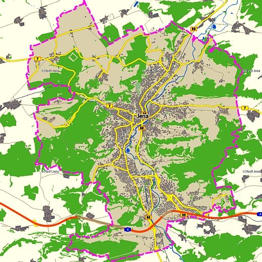 Das Stadtgebiet Jenas - Abbildung © Kartenwerk der Stadt Jena