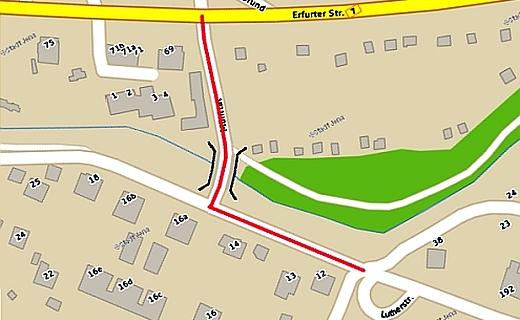 Uebersichtsplan der STrasse Muehltal - Abbildung © Stadt Jena Kartenwerk