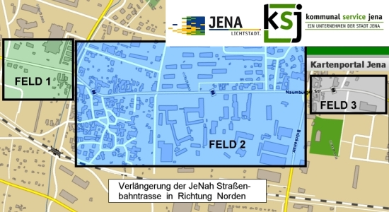 Beitragsrechtliche Bereiche der Strassenbahnverlaengerung Nord - Grafík © Stadt Jena KSJ