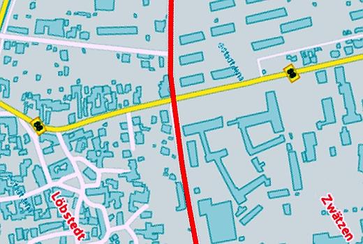 Grenze zwischen den Ortsteilen Loebstedt und Zwaetzen - Grafík © Stadt Jena KSJ