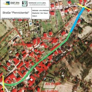 Straße Pennickental - Innenbereich gruen - Aussenbereich blau - Abbildung © Kartenwerk der Stadt Jena - Grafik © KSJ