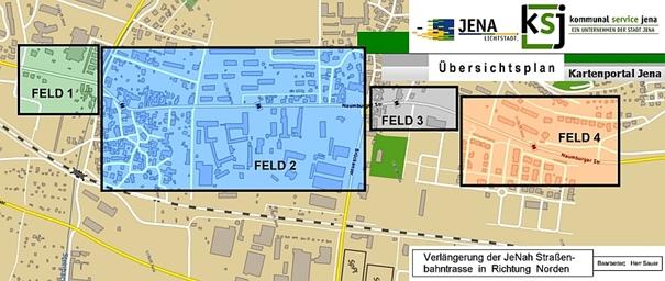 Vier beitragsrechtliche Bereiche der Strassenbahnverlaengerung Nord - Grafík © Stadt Jena KSJ