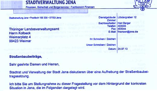Schreiben von Herrn Jauch an das Landesverwaltungsamt - Symbolbild © Stadt Jena KSJ