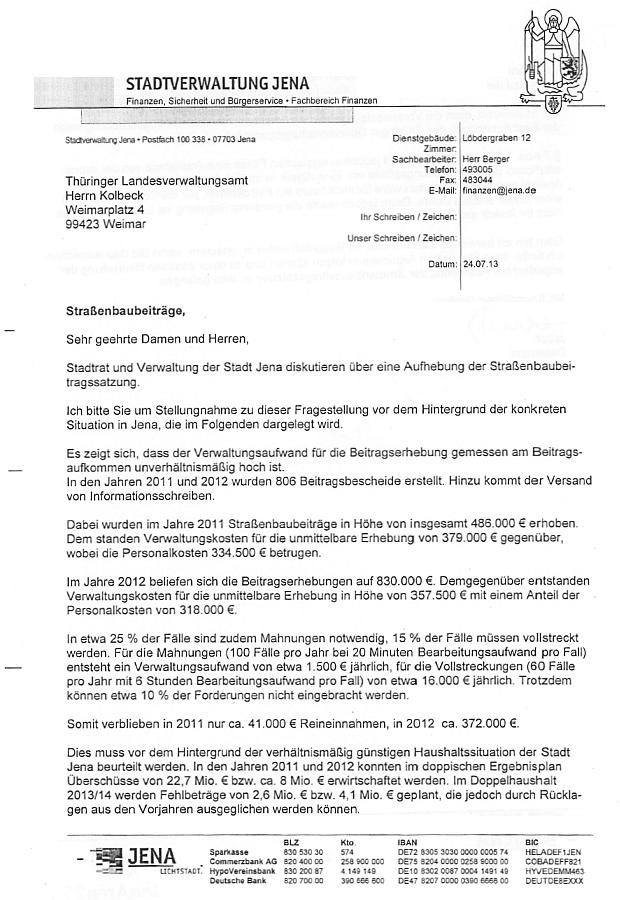 Seite 1 des Schreibens von Herrn Jauch - Abbildung © Stadt Jena KSJ