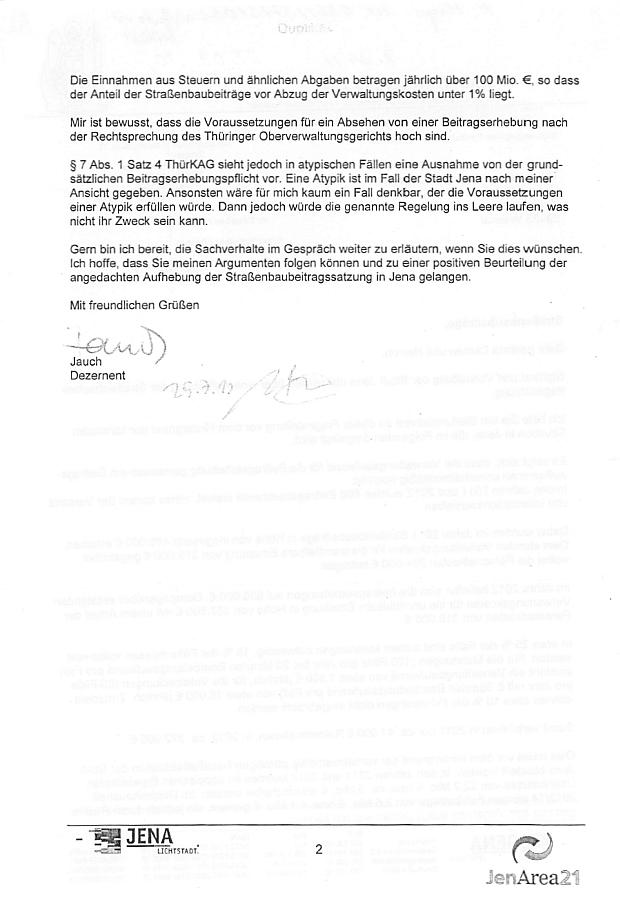 Seite 2 des Schreibens von Herrn Jauch - Abbildung © Stadt Jena KSJ