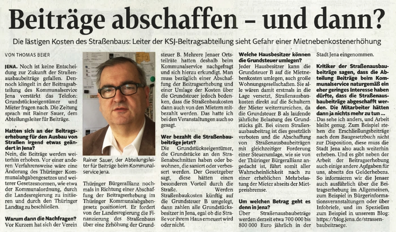 TLZ Artikel - Beitraege abschaffen - und dann - Abbildung © Stadt Jena KSJ freundlicher Genehmigung der Mediengruppe Thueringen GmbH Erfurt
