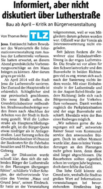 TLZ Zeitungsartikel zur Informationsveranstaltung Lutherstrasse- Abbildung © Stadt Jena KSJ