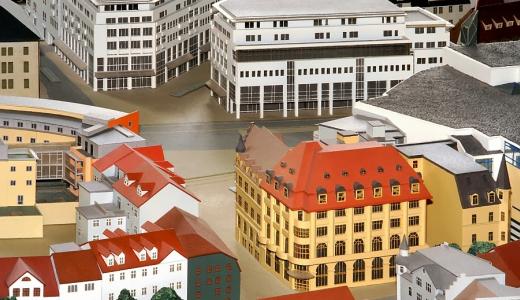 Ausschnittdetail des Jenaer Stadtmodells - gebaut von Freidrich Zietz  - Foto © Stadt Jena KSJ Vitzthum