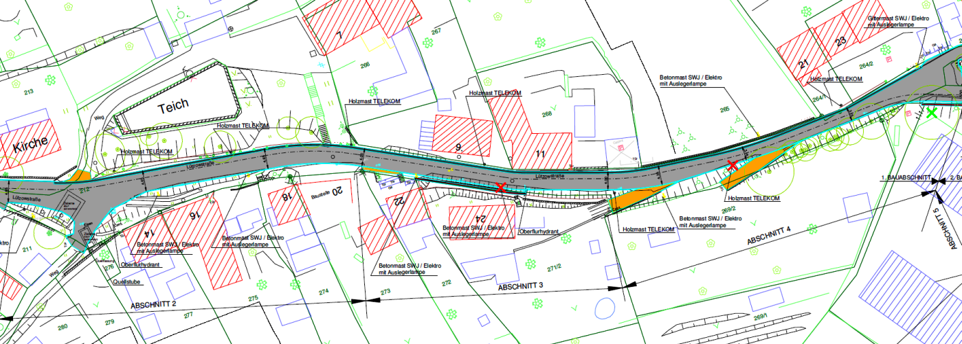Ausbaustrecke in der Variante A der Luetzowstrasse - Abbildung © Stadt Jena KSJ