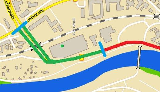 Das zu erneuernde Teilstück der Wiesenstraße ist grün gekennzeichnet - Abbildung © Stadt Jena KSJ