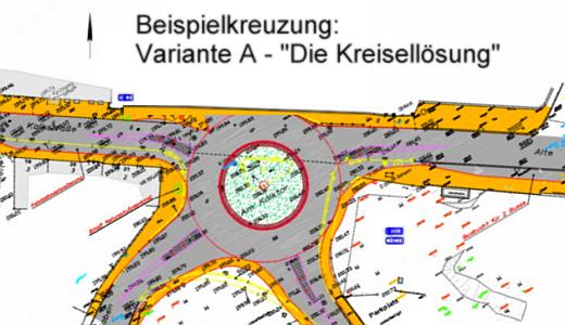 Beispielkreuzung - Kreiselvariante - Abbildung © MediaPool Jena