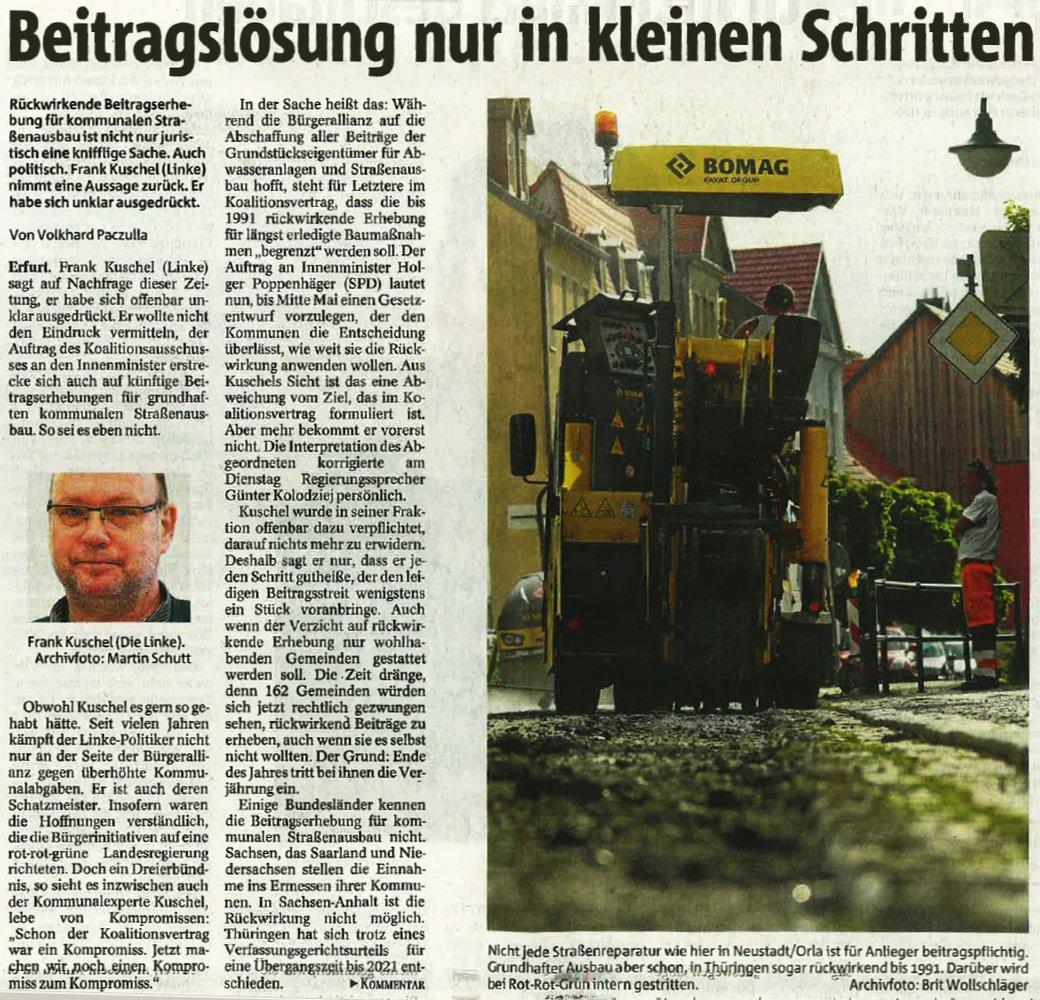Artikel - Beitragslösung nur in kleinen Schritenl - Abbildung © Mediengruppe Thüringen - Veröffentlichung mit freundlicher Genehmigung