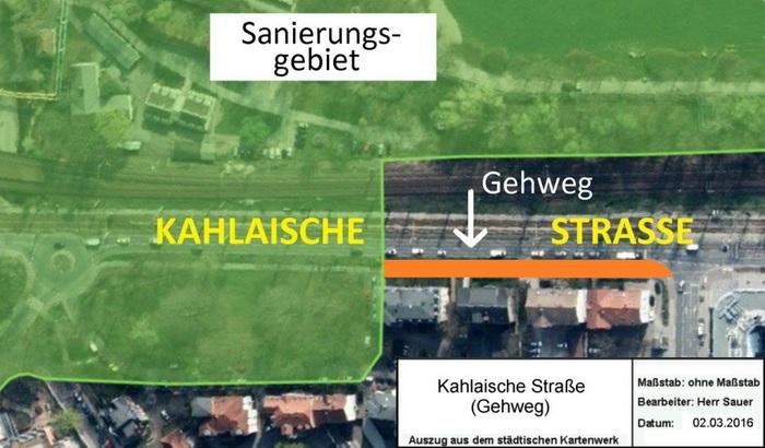 JEZT - Der Gehweg in der Kahlaischen Str in Jena - Abbildung © Kartenwerk der Stadt Jena KSJ