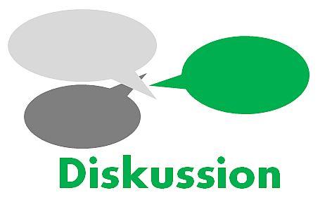 """Sprechblasen in grau und grün. Darunter das Wort """"Diskussion"""" in grün."""