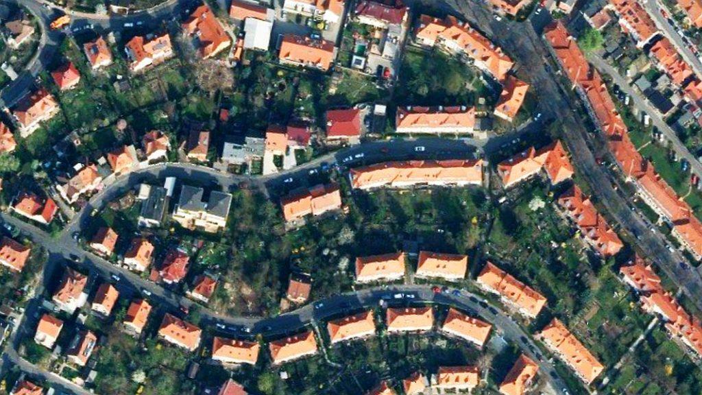 Luftbild des Heimstättenviertels in Jena.