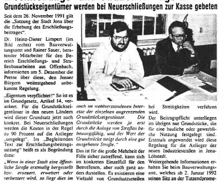 Zeitungsartikel aus dem Allgemneinen Anzeiger vom 16.12.1991