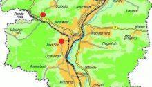 Karte der Stadt Jena auf der die beiden Orte der beabsichtigten Baumaßnahmen mit einem roten Kreis gekennzeichnet sind