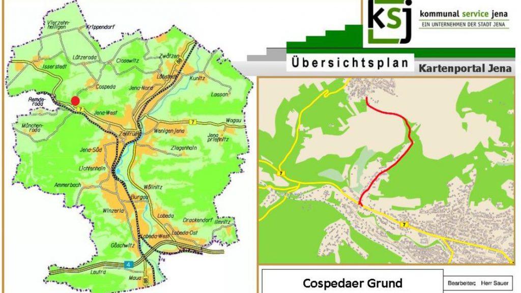 Karte der Stadt Jena mit einem Detailausschnitt.